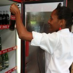 Ummy serving drinks at Charity Hotel in Arusha Tanzania that helps the Orphans Foundation Fund street children project